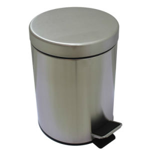 China 5l Round Bins 304 Stainless Steel Bathroom Trash Can Foot