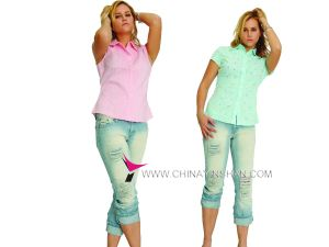 Ladies′ Short Sleeve Leisure Blouse - 3 (WX09-010h)