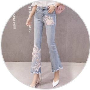 fda99c6ef30 2018 Fashion Ripped Floral Embroidery Jeans Women Casual Flower Embroidered Denim  Pants Ladies Blue High Waist