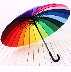 Auto Open Rainbow 16 Ribs Umbrella with Hook Handle