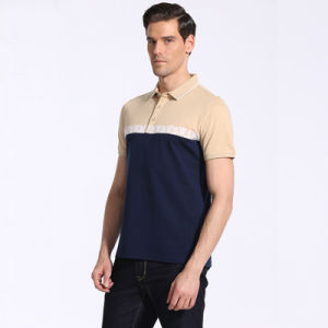 Short Sleeve Latest Shirts for Men Pictures Polo Collar 100% Cotton Polo Shirt with Printed Yoke pictures & photos