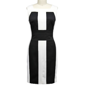Fashionable Black & White Letter Dress for Office Ladies (1-246-580)