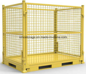 Foldable & Stackable Heavy Duty Wire Mesh Cage for Warehouse Storage pictures & photos