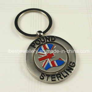 Color Enamel Metal Keyrings with Pound Sterling Logo