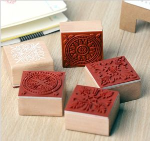 Square Wood Mounted Kids Playing Rubber Stamps