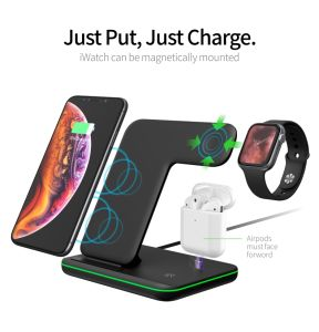 3-in-1 Wireless Fast Charger for iPhone/Iwatch/Airpods 15W Qi-Certified