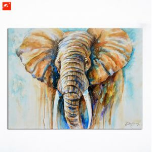 Warm Tone Wildlife African Elephant Wall Art Canvas Painting