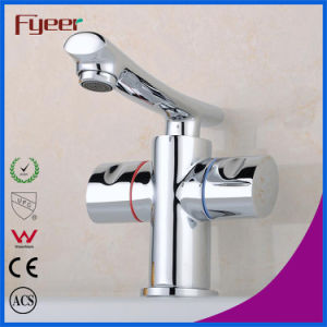 Fyeer Deck Mounted Chrome Plated Straight Spout Dual Handle Brass Bathroom Wash Basin Faucet Water Mixer Tap Wasserhahn pictures & photos