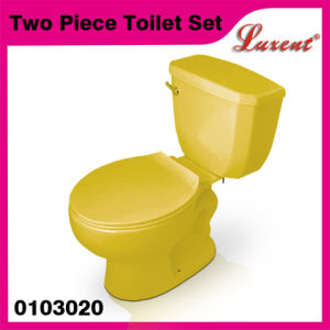 Ceramic with Tank Fittings Washroom High Quality Yellow Two Piece Toilet