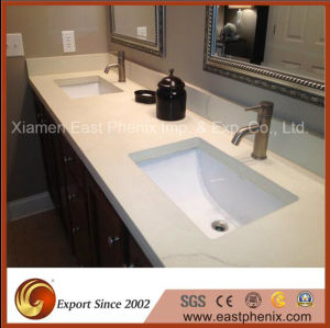 Sparkling White Polished Quartz Stone Vanity Top Countertop for Bathroom