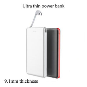 External Battery Charger Built-in Charging Cable 5000mAh Slim Power Bank pictures & photos