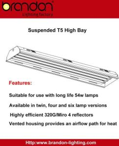 4 Lamp T5 Fluorescent Highbay with High Output Electronic Ballast