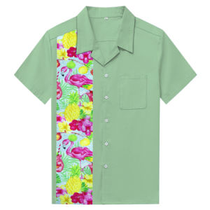 98fa1610 Beach Aloha Party Holiday Men Vintage Summer Island Flamingo Print Shirt