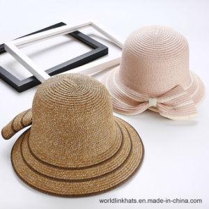 China Women Big Bowknot Summer Beach Cap Wide Brim Paper Straw Hat ... a0ce34c166a7