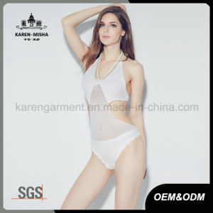 Ladies Sexy Beaded Neck Knitted One Piece Swimsuit pictures & photos