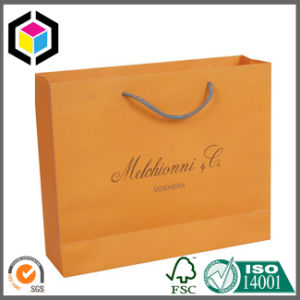 Orange Color Print Fashion Paper Packing Handle Bag for Promotion