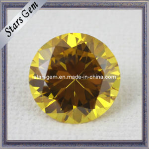 AA Brilliant Round Shape Gold Yellow CZ Gemstone for Jewelry pictures & photos