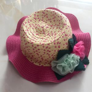 100% Paper Straw Hat, Fashion Falbala Style with Flower Decoration for Children