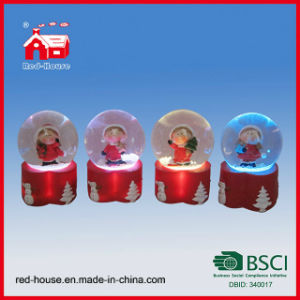 Custom Handmade Souvenir Glass Snow Globe Christmas Figures Lights Inside