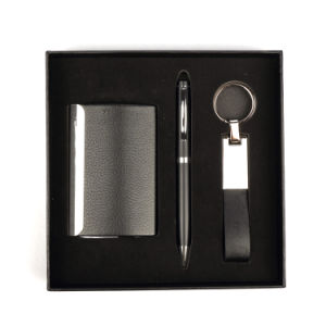 Wholesale Cheap Business Card Holder and Pen Keychain Promotional Set Gift with Custom Logo