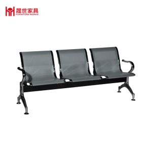 Confort Waiting Room Metal Steel 3 Seater Airport Chair Silver Color Mesh  Metal Waiting Chair