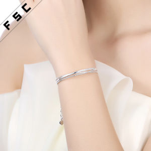 Silver Plated Cubic Zirconia Inlay Bangle Bracelet for Women pictures & photos