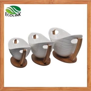 Ceramic Fruit Bowl with Bamboo Stand for Table Decoration pictures & photos