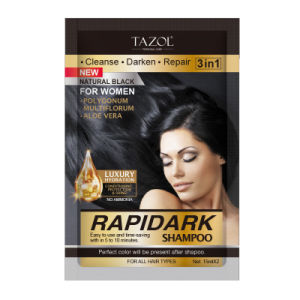 Tazol Cosmetic Natural Black Hair Color Shampoo 15ml*2 pictures & photos