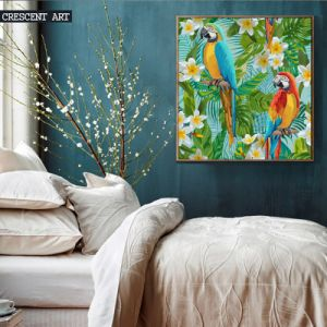 Cotton Canvas Oil Painting of Parrot and Gadenia pictures & photos