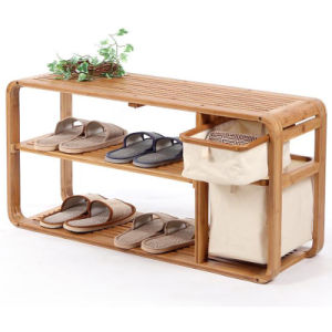 Recycle Bamboo Storage Footstool With Cloth Drawer