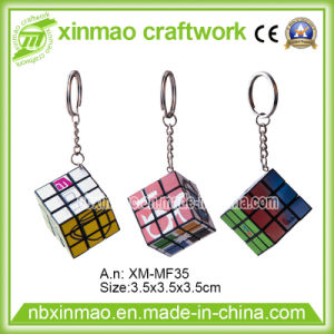 3.5cm Rubiks Cube with Keychain and Full Color Logo Imprint for Promo