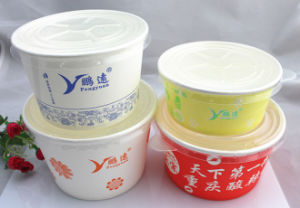 Customized Printing PE Coated Disposable Paper Soup Bowls with Lids pictures & photos
