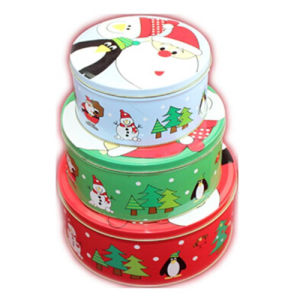 round empty decorative christmas gift box