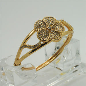 2015 Newest Four-Leaf Clover Alloy Gold Plating Bangle (B14B10936R1W0009)