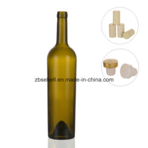 Taper Shape Cork Top Glass Wine Bottles with Height 330mm pictures & photos