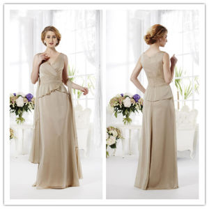 Fabulous Sheath V-Neck Floor-Length Appliques Chiffon Mother of The Bride Dresses 2014