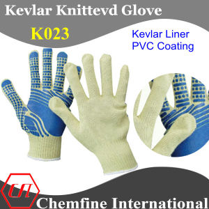 Kevlar Knitted Glove with PVC Coated Palm pictures & photos