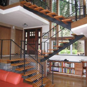 Stainless Steel Straight Staircase with Cable Railing pictures & photos
