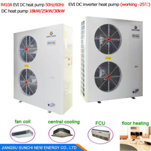 Amb. -10c Save75% Power Cop4.23 R410A 380V 19kw, 35kw, 70kw, 105kw Outlet 60deg. C Monobloc Air to Water DC Inverter Heat Pump pictures & photos