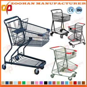 Two Basket Metal Chrome Plated Supermarket Handling Shopping Trolley (Zht201) pictures & photos