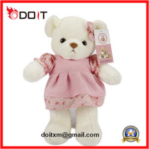 White Plush Teddy Bear Toy with Pink Dress pictures & photos