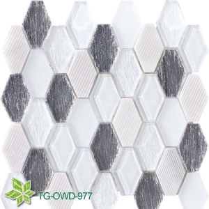 Long Hexagon Super White Glass Mosaic (TG-OWD-977)