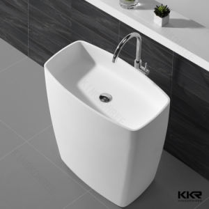 White Bathroom Solid Surface Stone Freestanding Basin pictures & photos