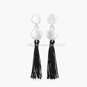 Fashion Black Leather Tassel Long Earrings for Women Bijoux Jewelry Gift