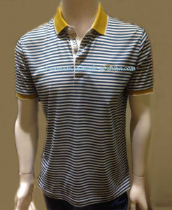 Custom Wholesale Striped Polo Shirt with Embroidery Logo pictures & photos