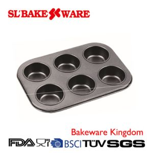 6 Cup Muffin Pan Carbon Steel Nonstick Bakeware (SL-Bakeware)