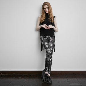 Pk-072 Punk Fall New Fashion Woman Elastic Waist Cute Lovely Printed Pants