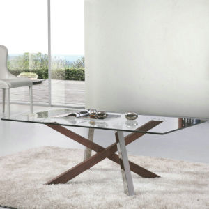 China Glass Coffee Table With Solid Wood Stainless Steel Legs