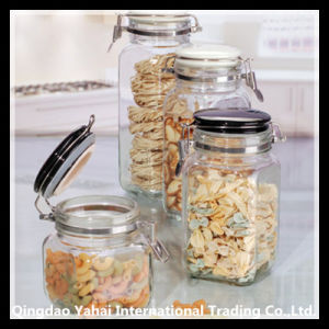 700ml Set Square Glass Storage Jar with Clip Lid