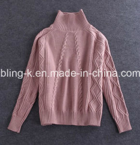 Popular Wild Turtleneck Twisting Sweater for Women/Ladies